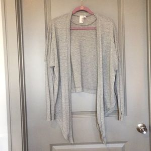 Francesca's gray and gold tie sweater
